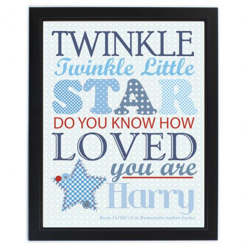 Personalised Twinkle Boys Poster Frame